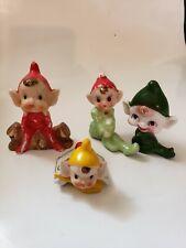4 Vintage Pixies Miniature Figurines Japan