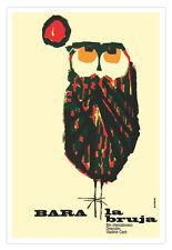Cuban movie Poster 4 film Bara the WITCH.Owl modern art.La Lechuza Bruja.Lovely