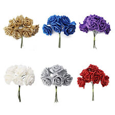 7 Foam Rose Artificial Flower Glitter Bridal Bouquet Home Wedding Decoration SH