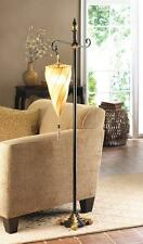 TAN BROWN SPIRAL triangle SHADE hanging MOROCCAN black & gold FLOOR LAMP LIGHT