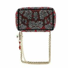 Christian Louboutin Piloutin Clutch Crystal Embellished Suede Small
