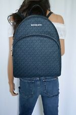 MICHAEL KORS ABBEY LARGE MK SIGNATURE BACKPACK PVC LEATHER ADMIRAL