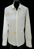 Hugo Boss White Slim Fit French Cuff Shirt 17.5-35 Textured