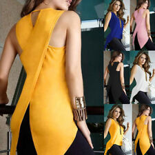 UK Womens Cross Back Sleeveless Blouse Ladies Strappy Camisole Vest Tank Tops