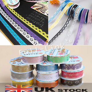 Decorative Lace Roll Washi Sticky Paper Masking Adhesive Tape Craft DIY UK Stock