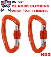 2X ROCK CLIMBING CARABINER GATE LOCK 24 25KN 5600lb SCAFFOLD HARNESS HAMMOCK DOG