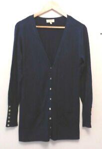 Papaya Weekend Women's Casual Navy Long Sleeve Button-Up Cardigan Jumper Size 12