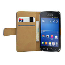 Wallet BLACK Leather Flip Case Cover Pouch for Samsung Galaxy Fresh GT-S7390