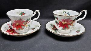 Royal Albert England Bone China Yuletide Pair of Cups & Saucers