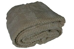 Beige Fleece Sofa / Bed Honeycomb Waffle throw / blanket