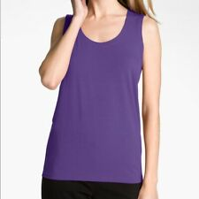 Eileen Fisher Plus Sleeveless Scoop Neck Basic Tank Top Violet Purple Silk Sz 2X
