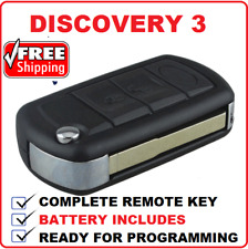 Complete Key for Land Rover Discovery 3 key blank includes transponder flip key