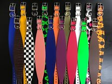 S/M RIVETED Real Leather Dog Collars Whipper Lurcher Greyhound MULTICOLOURS