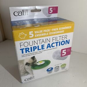 Catit Cat Drinking Water Flowers Fountain Triple Action Replacement Filters 5 Pk