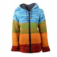 Damen Strickjacke Goa Wolle Fleecefutter Zipfelkapuze Hippie Jacke Kunst u Magie