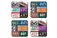 Personalized Coasters featuring the name ART in photos of signs - Set of 4