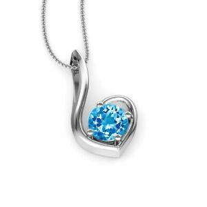 925 Sterling Silver Sky Blue Topaz Solitaire Pendant