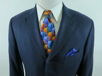 Isaia Napoli 100% Wool Solid Blue Blazer Jacket Sport Coat 42 R Made in Italy