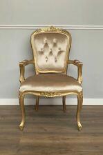 French Louis XV Elise Armchair - Gold Frame With Glamour Velvet Upholstery