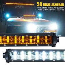 "Xprite Sunrise Series 50"" Double Row LED Work Light Bar Amber Backlight ATV Jeep"