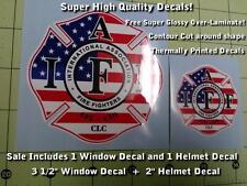 IAFF Firefighter Decal Kit 2pcs USA Flag American Patriot Laminated 0209