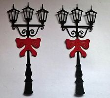 6 x DIE CUT ASSEMBLED FESTIVE STREETLIGHT/LAMP POSTS FOR CHRISTMAS CARD TOPPERS