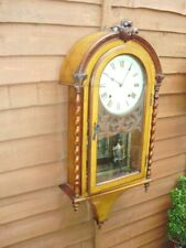 More details for wall clock lovely working striking on a  bell clock key  and pendulum see video