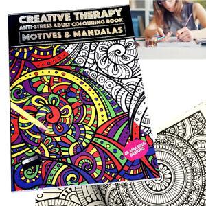 MANDALAS MOTIVES ADULTS COLOURING BOOK A4 ANTI-STRESS ACTIVITY CREATIVE THERAPY
