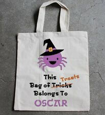 Large Spider Halloween trick  or treat tote bag-personalised boys & girls deco
