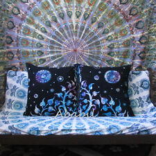 "2 Pcs. Set Of 24X24"" Indian Cotton Pillow Cushion Cover Bohemian Tie & Dye Throw"