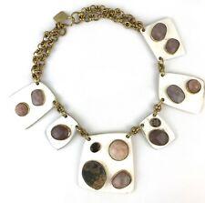 Ashley Pittman New Sabini Light Horn Collar Necklace Moonstone & Quartz $1250