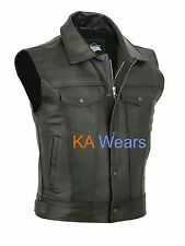 Mens Motorcycle Biker Real Leather Waistcoat Black Vest Jacket Pockets Zip 3xl