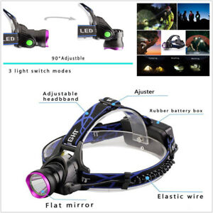 50000LM T6 LED Headlamp Head-mounted Light Torch Zoomable Lamp +Car & EU Charger