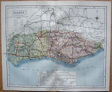 1884 LARGE ANTIQUE COUNTY MAP SUSSEX