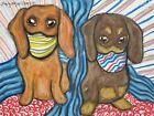 Dachshund Quarantine Masks 8x10 Dog Art Print Signed Artist KSams Vintage Style