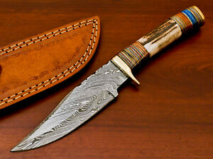 HAND FORGED DAMASCUS STEEL HUNTING KNIFE-STAG ANTLER HANDLE-AD-8474