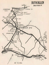 Rutherglen wine region sketch map. Victoria wineries. Australia 1955 old