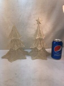 Vtg 2pc Doily Cottage White Christmas Tree Hard Chic Standing Craft Shabby Art