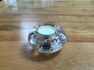 GLASS  CANDLE HOLDER  FLORAL DESIGN HAND MADE SILVER