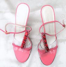 ULTIMATE COLLECTION designer pink red diamante crystal perspex sandals UK 6