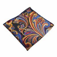100% Silk Multi Colour Paisley Handkerchief Pocket Square Hankie Hanky Wedding