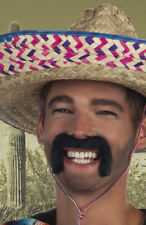 Moustache noire déguisement Mexicain accessoire auto adhésive bandit fiesta fête