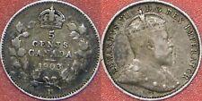 Very Fine 1903 Canada Small H Silver 5 Cents
