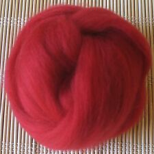 100g Merino Wool Tops 64's Dyed Fibres - Crimson - Felt Making and Spinning