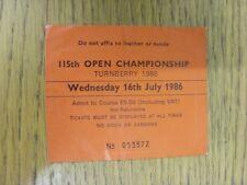 16/07/1986 Biglietto da Golf: 115th Open Championship [a Turnberry] rosso. grazie fo