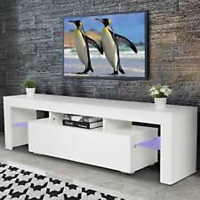 TV Lowboard Board Fernsehschrank Fernsehtisch RGBW LED Möbel Unterschrank Weiß