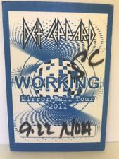 Def Leppard collectible Backstage Pass mirror ball tour 2011 Local Crew New