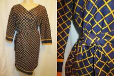 Vintage 60s Day Dress Gigette Wrap Around Cotton Gold Navy Stripe Plaid S M