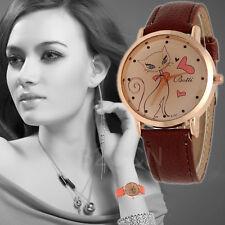 Fashion Women Watch Cute Cat Pattern Leather Analog Quartz Classic Wrist Watches