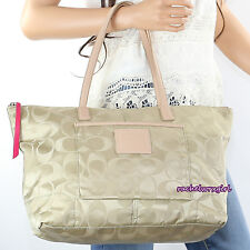 NEW Coach Legacy Signature Nylon Weekender Tote Shoulder Bag 24862 Khaki RARE